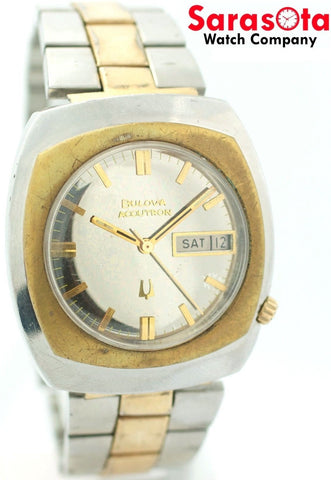 Bulova Accutron 2182 N5 Two Tone Stainless Steel Day/Date Dress Men's Watch