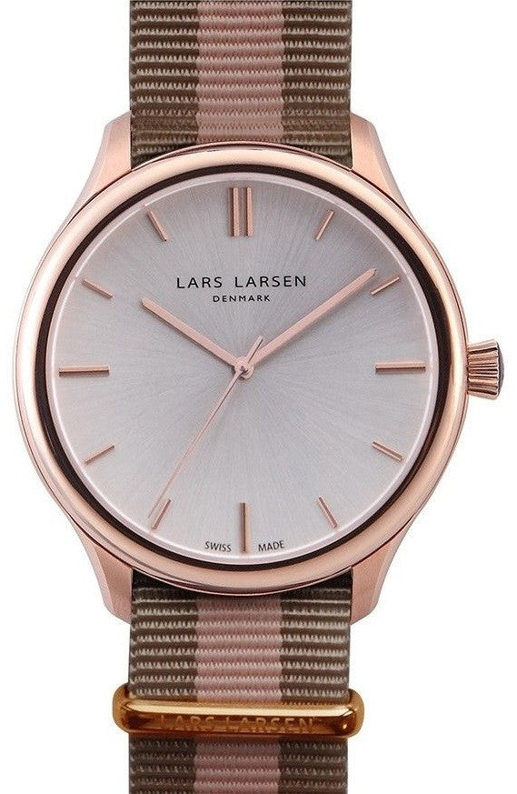 Lars Larsen Philip 120RBSN Rose Gold Tone Silver Dial Nylon Band Men's Watch