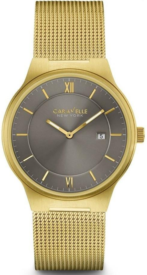 Caravelle New York 44B110 Gray Dial Gold Tone Stainless Steel Quartz Men's Watch