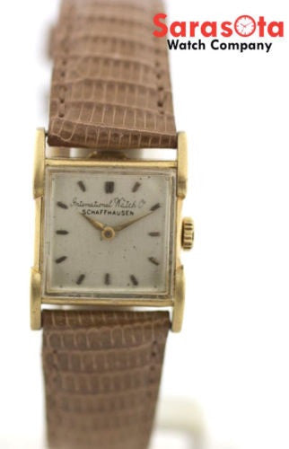 IWC Schaffhausen 18K Solid Gold Case Classic Brown Leather Strap Women's Watch