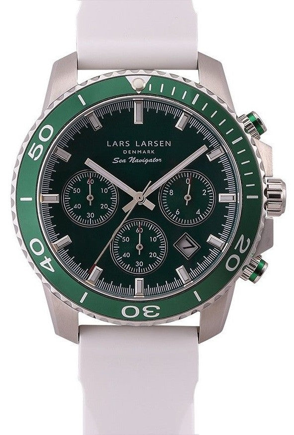 Lars Larsen Sea Navigator 134SBWS Silicone Band Green Dial & Bezel Men's Watch