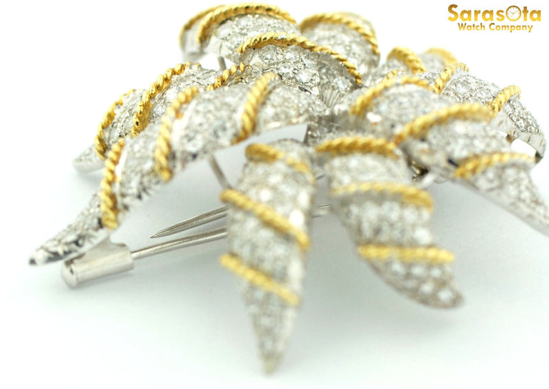 Vintage Two Tone 18K Yellow/White Gold Over 5 Ct Diamond Brooche