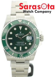 ROLEX Submariner HULK 116610LV Green Ceramic Steel Auto 2018 Wrist Watch W/B/P