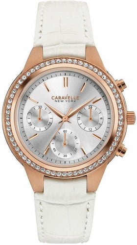 Caravelle New York 44L214 Chronograph Rose Gold Tone Crystal Bezel Women's Watch