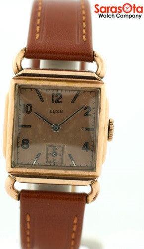 Vintage Elgin 554 15 Jewels Hand Wind 10K Rose Gold Filled Leather Unisex Watch