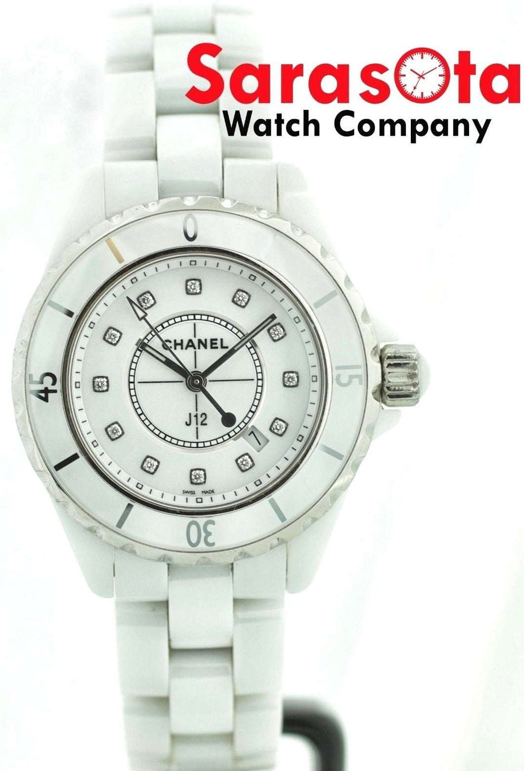 Chanel J12 Ceramic/Stainless Steel White Diamond Dial Swiss Quartz Women's Watch