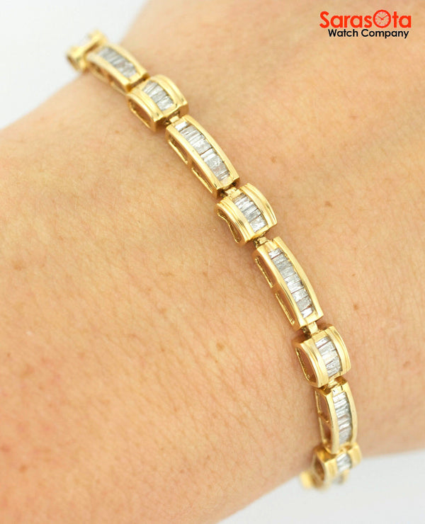 14K Yellow Gold Approx 2.5 Ct. Baguette Diamond's Ladies Tennis Bracelet - Sarasota Watch Company