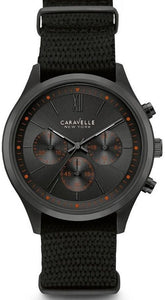 Caravelle New York 45A130 Chronograph Gunmetal Plated Nylon Quartz Men's Watch