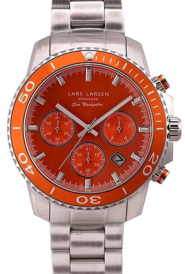 Lars Larsen Sea Navigator 134SOSB Stainless Steel Orange Dial Men's Watch
