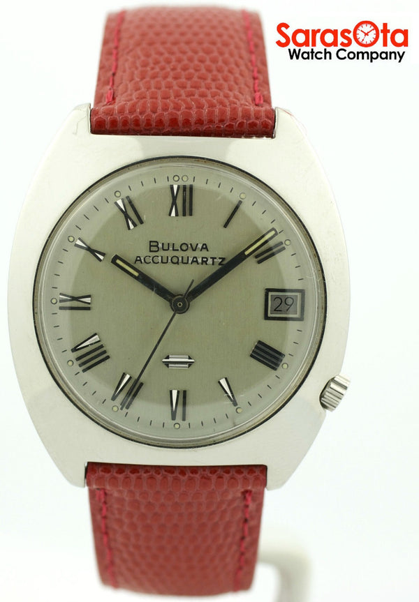 Vintage Bulova Accutron J776956 Tuning Fork Leather Band Date Unisex Watch