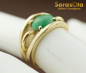 14K Yellow Gold Oval Jade Solitaire Women's Ring Size 6.25 - Sarasota Watch Company