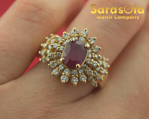 14K Yellow Gold Ruby/Diamond 0.75Ct Solitaire with Accent Women's Ring Size 6.75 - Sarasota Watch Company