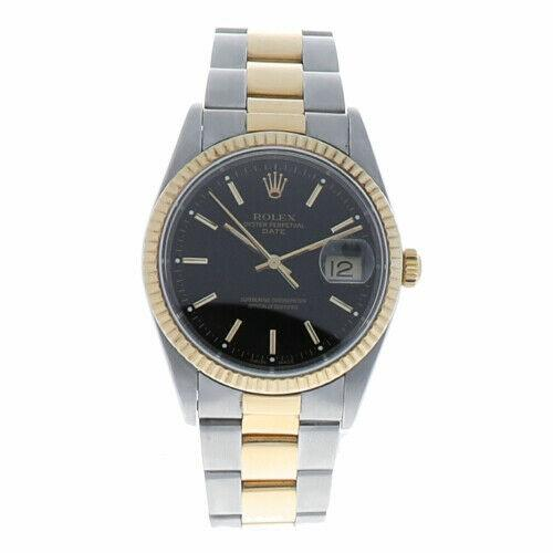 Rolex 15203 Date 34mm Black Dial Two Tone Oyster Swiss Automatic Men's Watch