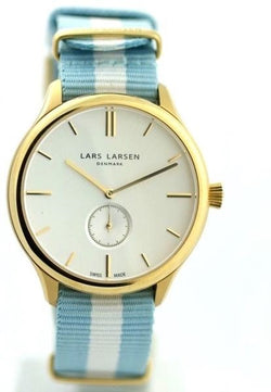 Lars Larsen Simon 122GBCN Gold Tone Case Silver Dial Nylon Band Men's Watch