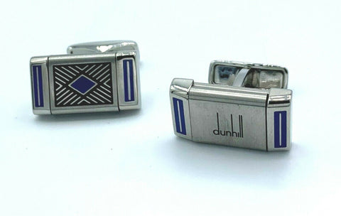 Dunhill JNH0235 Rectangle Reversible Blue Stainless Steel Men's Cufflink's
