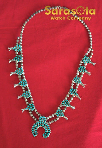 Native American Navajo Zuni Style Sterling Turquoise Squash Blossom Necklace 21""