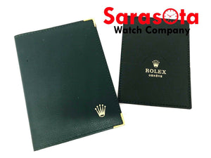 "Vintage NOS Rolex 68.08.55 Green Leather Passport Card Holder 4"" x 5.5"" SW04"