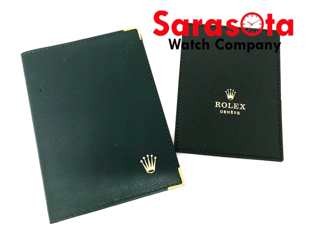 Vintage NOS Rolex 68.08.55 Green Leather Passport Card Holder 4
