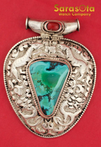 Vintage Navajo Native American Sterling Large Animal Pendant with Turquoise
