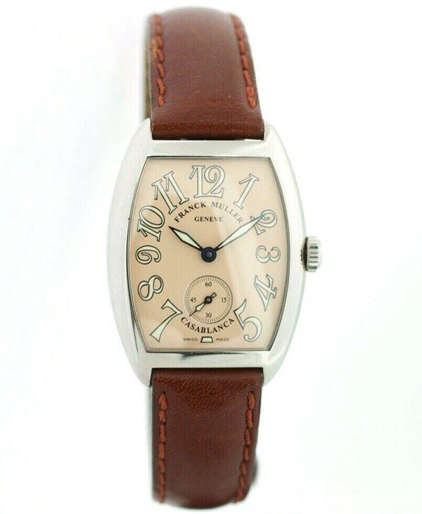Franck Muller Casablanca 1620 Salmon Steel 30mm Leather Hand Winding Wrist Watch