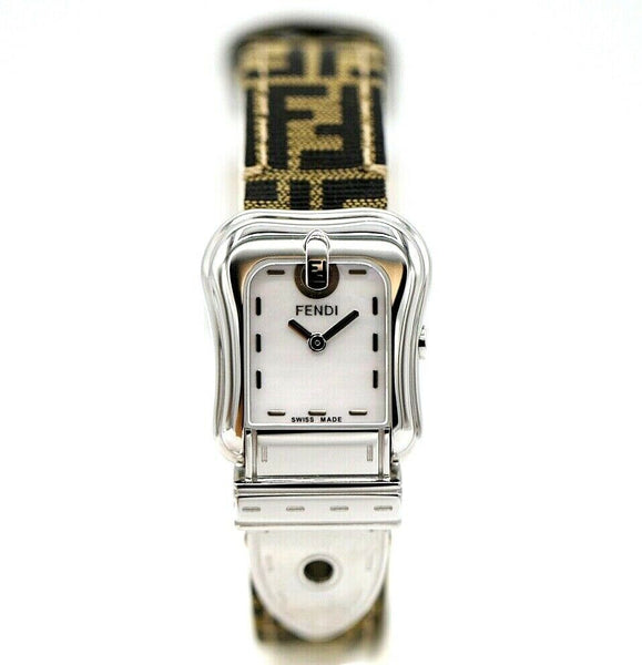 Fendi Orologi 023-3800L-118 Steel Belt Style Canvas FF Logo Quartz Women's Watch