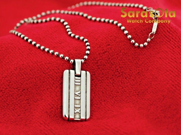 "100% Authentic Tiffany&Co 925 Sterling Silver Atlas 2003 Dog Tag 16"" Necklace"