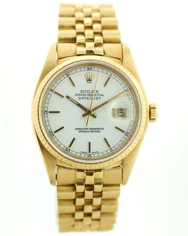 Rolex Datejust 16018 18K Yellow Gold White Stick Dial Automatic Men's Watch