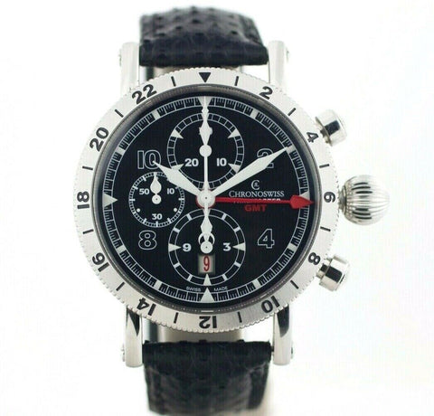 Chronoswiss GMT Chrono Timemaster CH7533 Leather 45mm Automatic Men's Watch