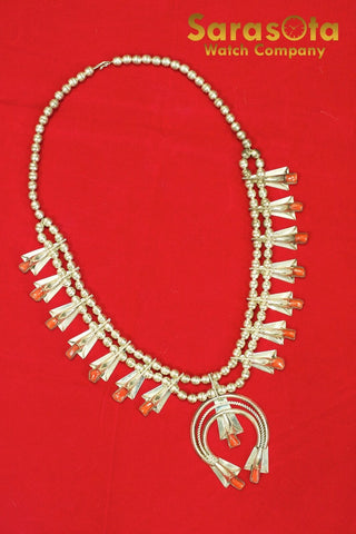 Vintage Navajo by Frank Yazzie Sterling Coral Squash Blossom Necklace