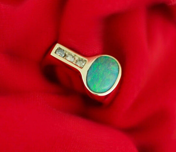 14k Yellow Gold Oval Opal 10 mm Diamonds Men's Ring Jewelry Size 8.75