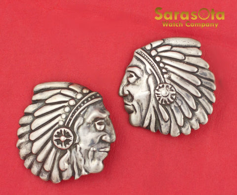 Vintage Native American Navajo Sterling Indian Head Clip Earring's