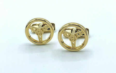 Dunhill JSE5266K Round Gold Plated Steering Wheel Men's Cufflink's Gift