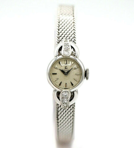 Vintage Omega 5596 14K White Gold 16mm Diamond Lugs Manual Wind Women's Watch