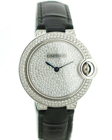 Cartier Ballon Bleu 3492 18k WG Diamonds 33mm Leather Automatic Watch w/B/P