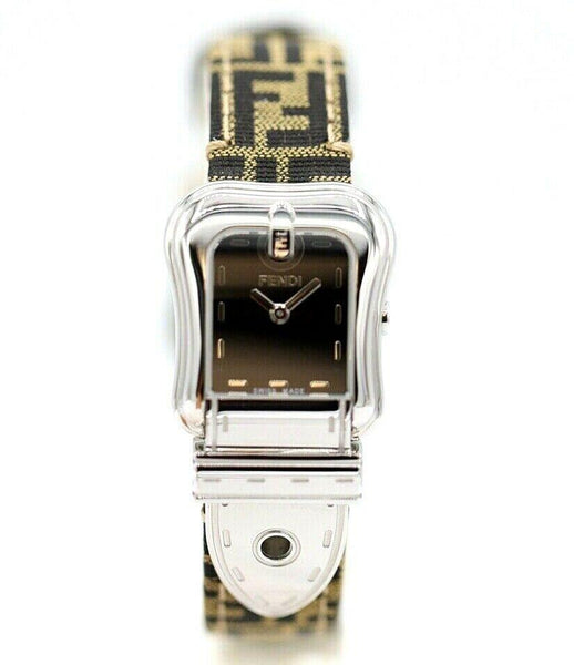 Fendi Orologi 022-3800L-942 Steel Belt Style Canvas FF Logo Quartz Women's Watch
