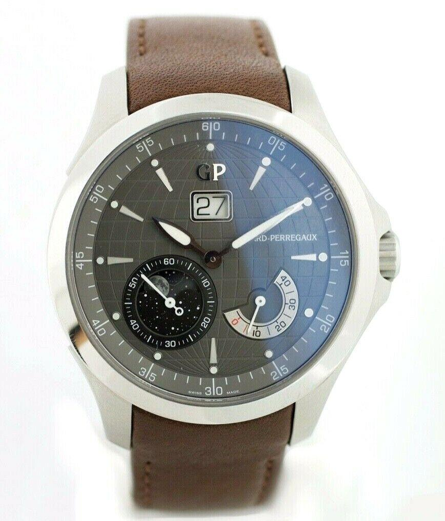 NEW! Girard Perregaux 49650 Traveller Large MoonPhases Leather Automatic Men's Watch - Sarasota Watch Company