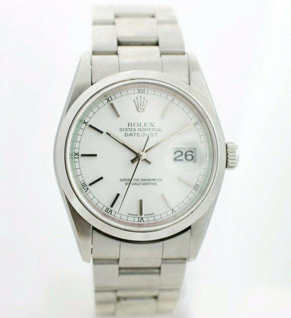 Rolex Datejust 16234 Stainless Steel White Dial Automatic Wrist Watch Box/Papers