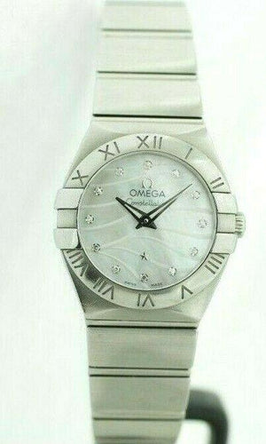 Omega Constellation MOP Diamond Dial Stainless Steel 24mm Swiss Women's Watch