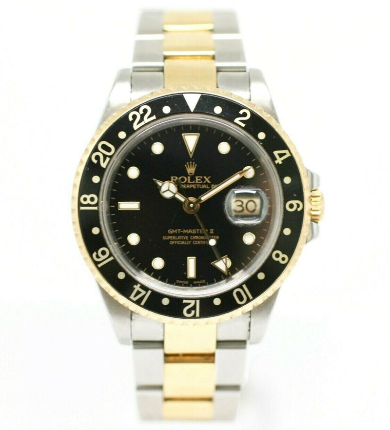 Rolex GMT-Master II 16713 Black Dial 18K/Steel Two Tone 2000 Men's Watch W/B