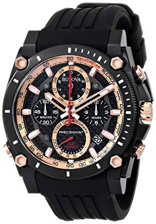 Bulova Precisionist 98B181 47mm Black Dial Black Rubber Strap Men's Watch