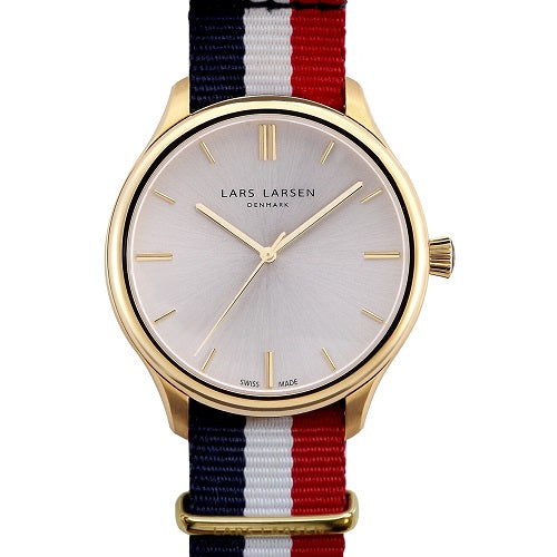 Lars Larsen Philip 120GBAN Bright Air Nato Nylon Gold Tone Dress Men's Watch