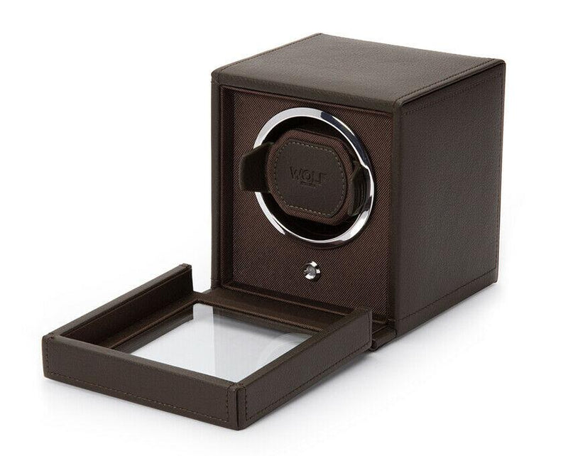 Wolf 461106 Cub Single Watch Winder with Cover Brown