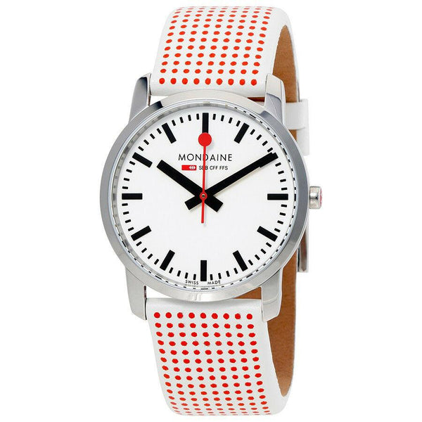 Mondaine A400.30351.11SBA Simply Elegant Leather Band White Dial Women's Watch