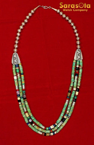 Vintage Navajo Thomas Singer Silver Multi Stone Bead Three Strand Necklace