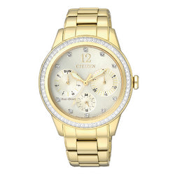 Citizen Eco Drive FD2012-52P Day/Date Crystal Dial/Bezel Gold Tone Steel Women's Watch