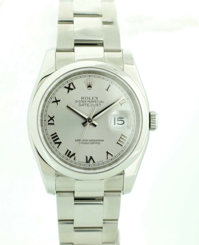 Rolex Datejust 116200 Stainless Steel Silver Roman Dial 2008 Wrist Watch W/B/P