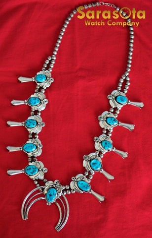 Native American Navajo GW Glen Willie Sterling Turquoise Squash Blossom Necklace