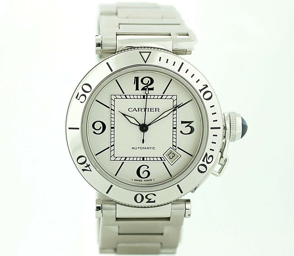Cartier Pasha 2790 Silver Dial Stainless Steel Automatic Men's Watch W/B/P - Sarasota Watch Company
