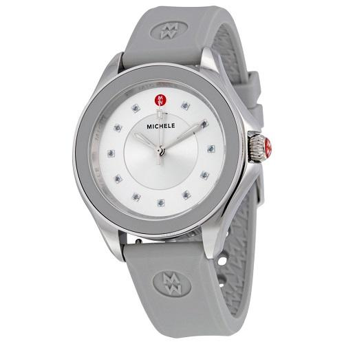Michele MWW27A000016 Silver Diamond Dial Stainless Gray Rubber Women's Watch