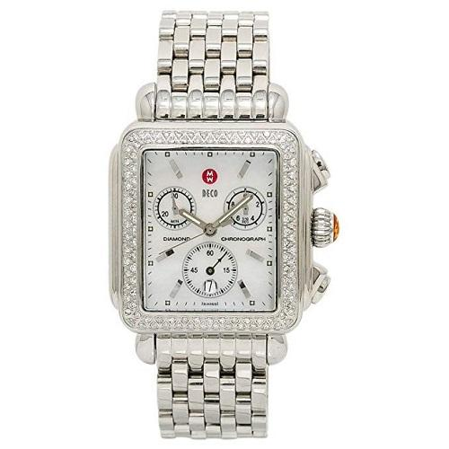 Michele Deco MW06A01 MOP Dial Diamond Bezel Chrono Steel Quartz Women's Watch